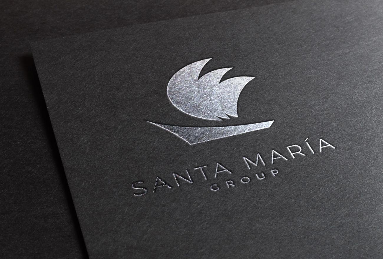 Muestra de papelería logo Grupo Santa María